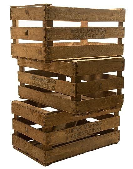 3 pcs rústico de cajas de fruta de aprox 61 x 38 x 32 cm de