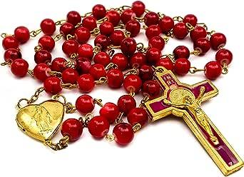 Nazareth Store Red Coral Beads Rosary Necklace Catholic Saint Benedict Chaplet Heart Locket Medal & Cross Religious Amulet for Women and Men - Velvet Bag