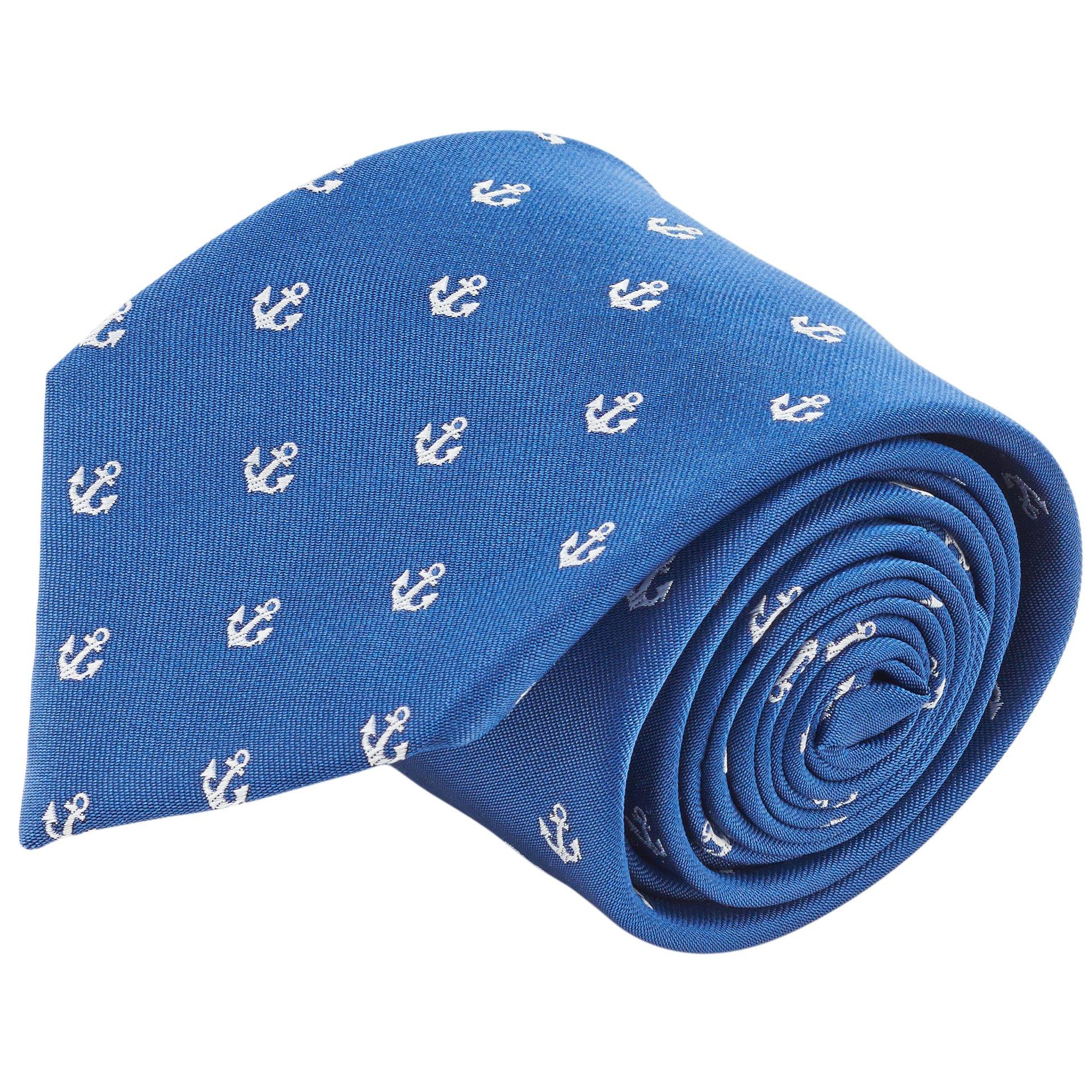 100% Silk Nautical Anchor Navy Blue & White Tie Men's Necktie by John William