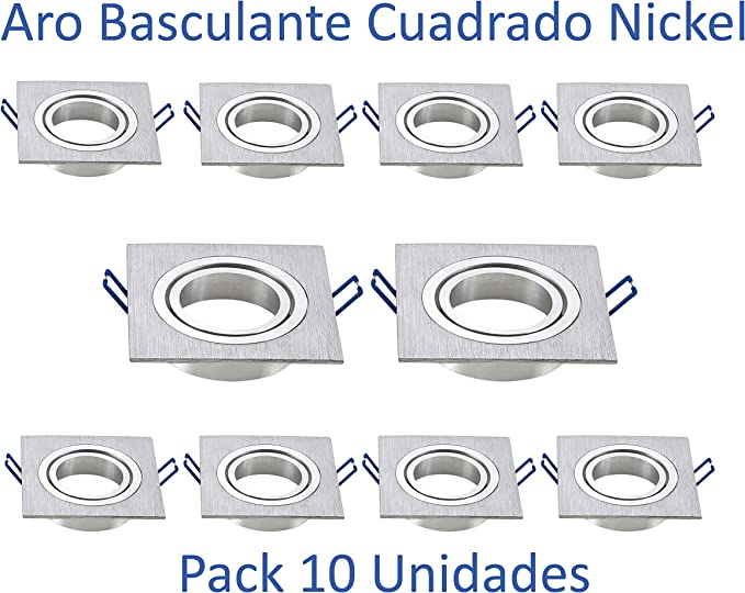Aro Basculante Cuadrado para Dicroica Led [Pack 10 Unidades] (Nickel): Amazon.es: Iluminación