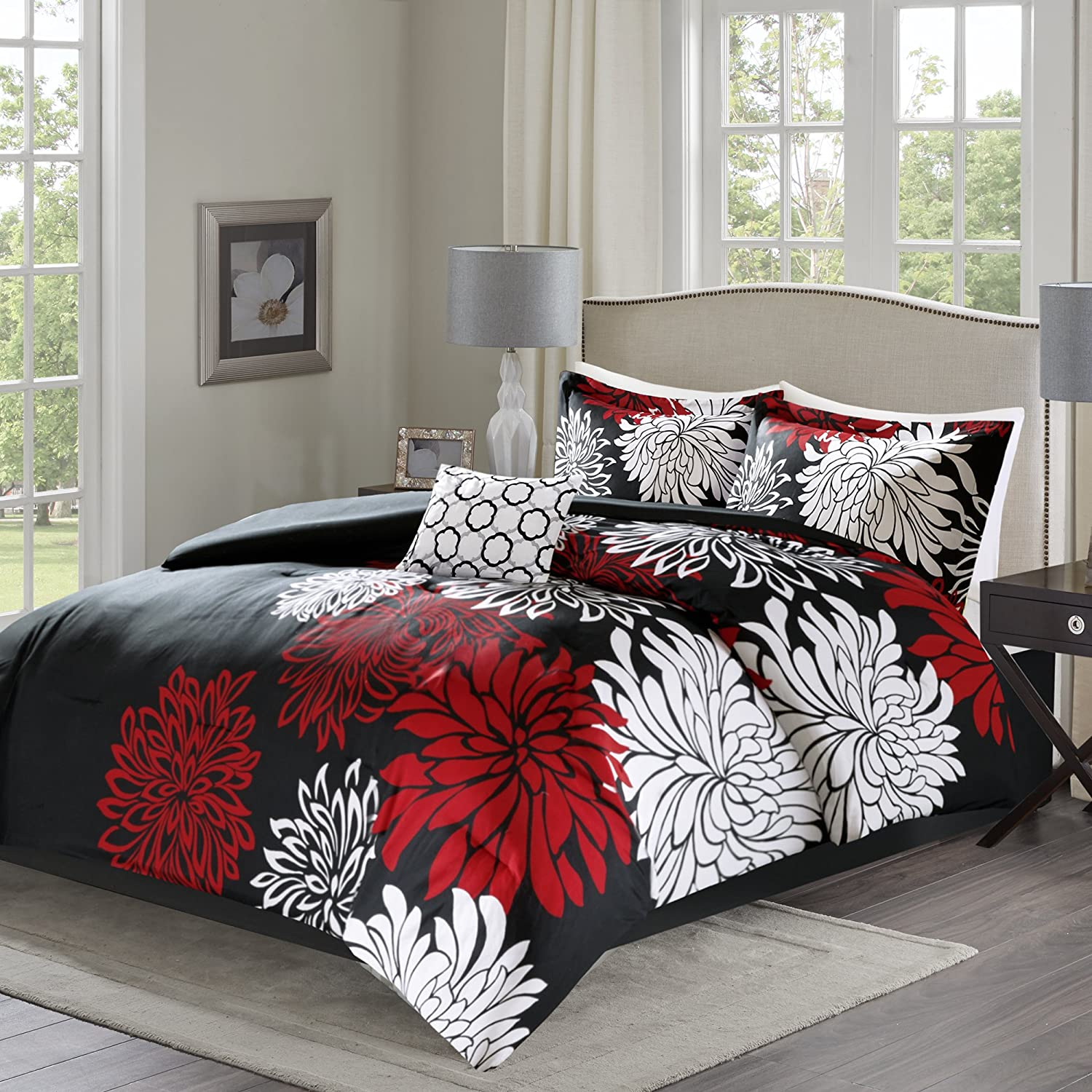Comfort Spaces – Enya Comforter Set - 5 Piece – Black, Red – Floral Printed – Full/Queen Size