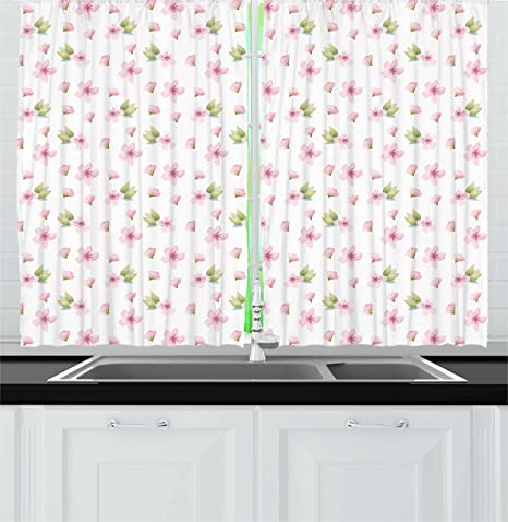Ambesonne Cherry Blossom Kitchen Curtains Fresh Spring Meadow Fragrance Joy And Love Tender Season Flowers Window Drapes 2 Panel Set For Kitchen Cafe Decor 55 X 39 Pale Pink Green White