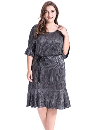 Chicwe Womens Metallic Crystal Pleat Plus Size Dress With Belt