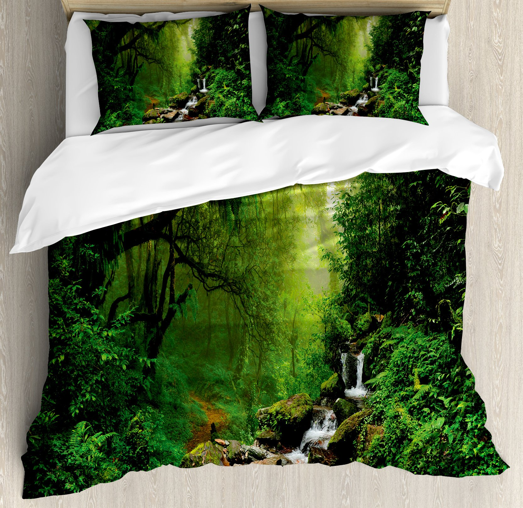 Ambesonne Nature Duvet Cover Set King Size, Into the Woods Idyllic Forest Greenland Dreamy Mystic Fresh Tropical View, Decorative 3 Piece Bedding Set with 2 Pillow Shams, Emerald Hunter Green
