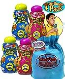 Little Kids Fubbles Squeeze 'n Blow Pop-Up Bubbles Blue & Pink Gift Set Party Bundle with Bonus Matty's Toy Stop Storage Bag - 4 Pack