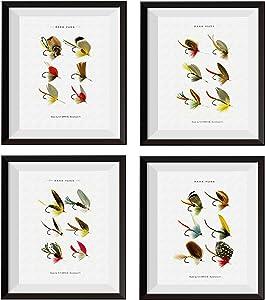 Uhomate 4 pcs Bass Fishing Baits Wall Decor Bass Baits Bass Flies Paintings Set Home Canvas Wall Art Gift Wall Decor for Bathroom Bedroom Living Room Unframed M004