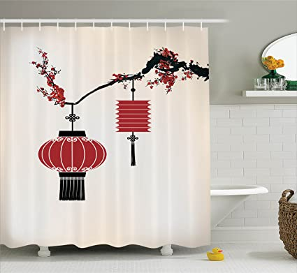 amazon com ambesonne lantern decor collection, chinese lantern hangambesonne lantern decor collection, chinese lantern hang on a cherry tree celebration flower oriental design