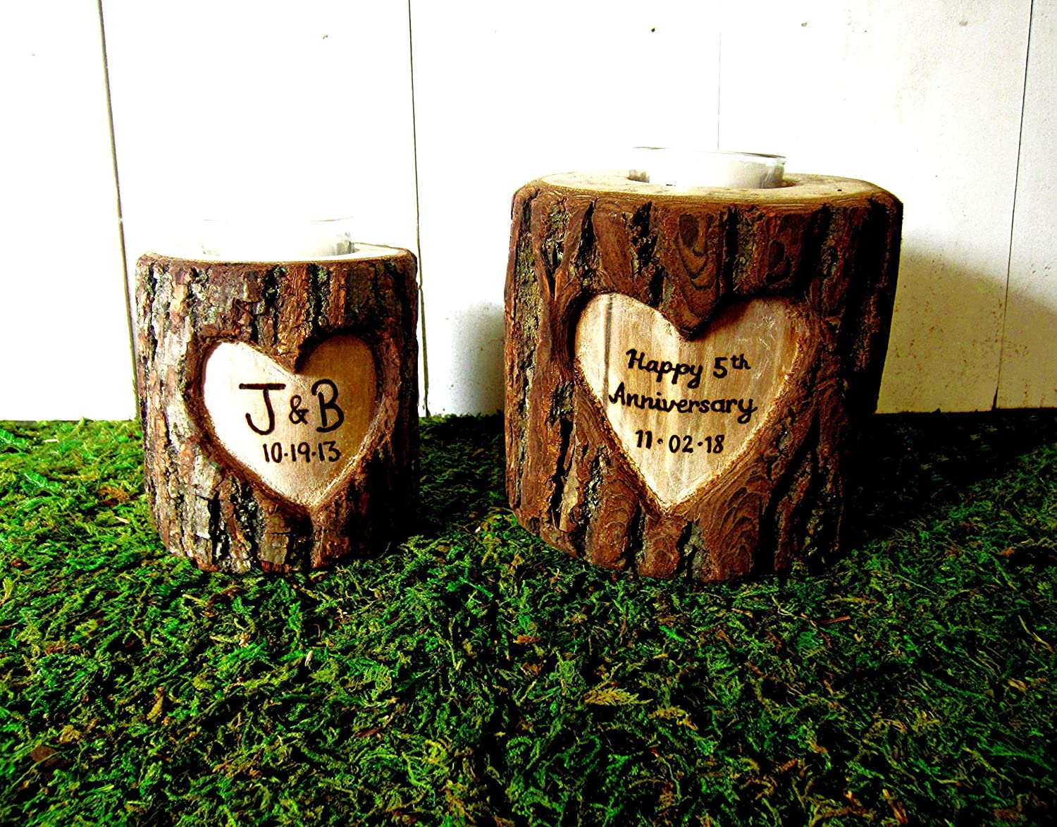personalized anniversary gift wood log rustic wedding centerpiece