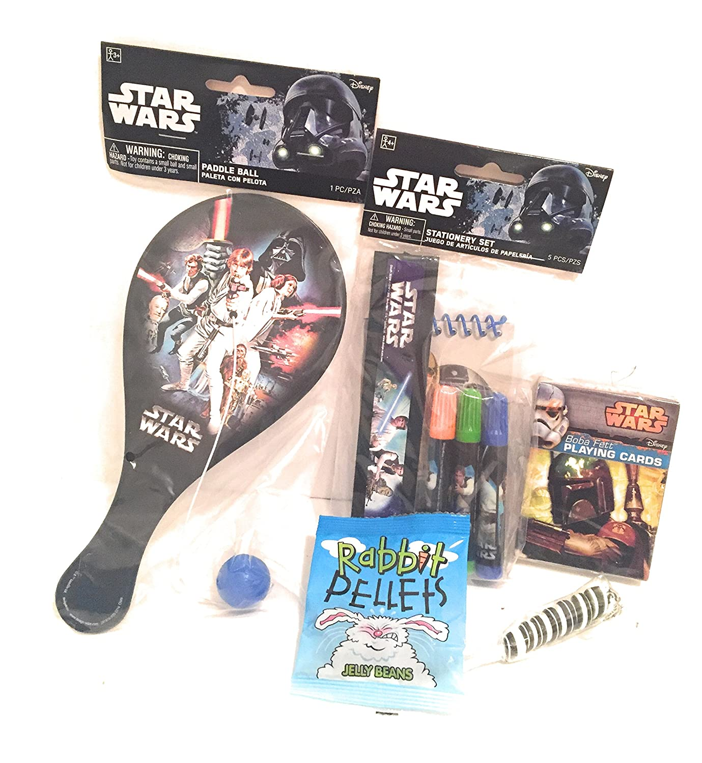 Amazon.com: Disney Star Wars Easter Holiday Gift Basket or Birthday Basket - Puzzle, Coloring Book, Paddle ball, Playing Cards,Stationery Set, Play&GoPak, ...