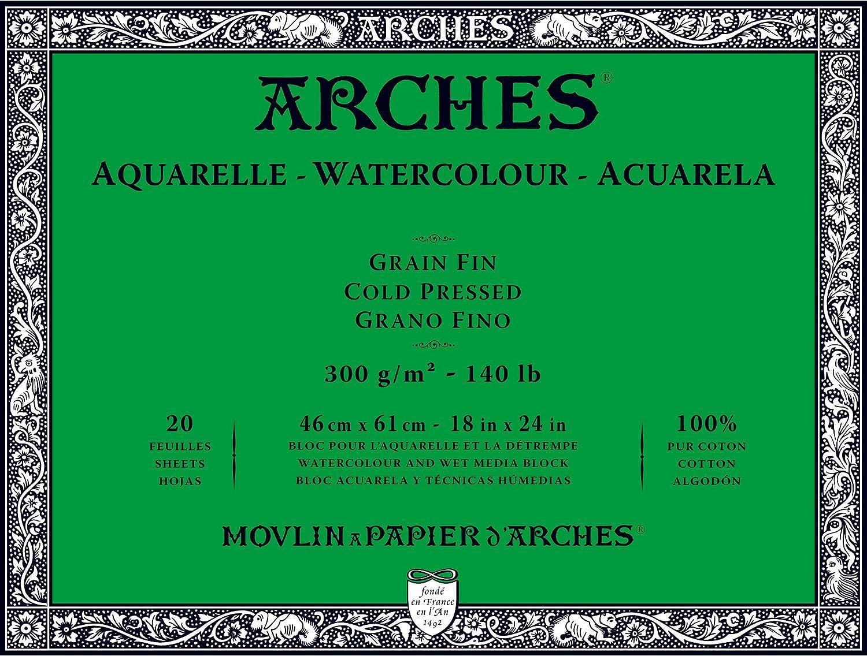 Cold Press 140 pound 14 x 20 Arches Watercolor Paper Block