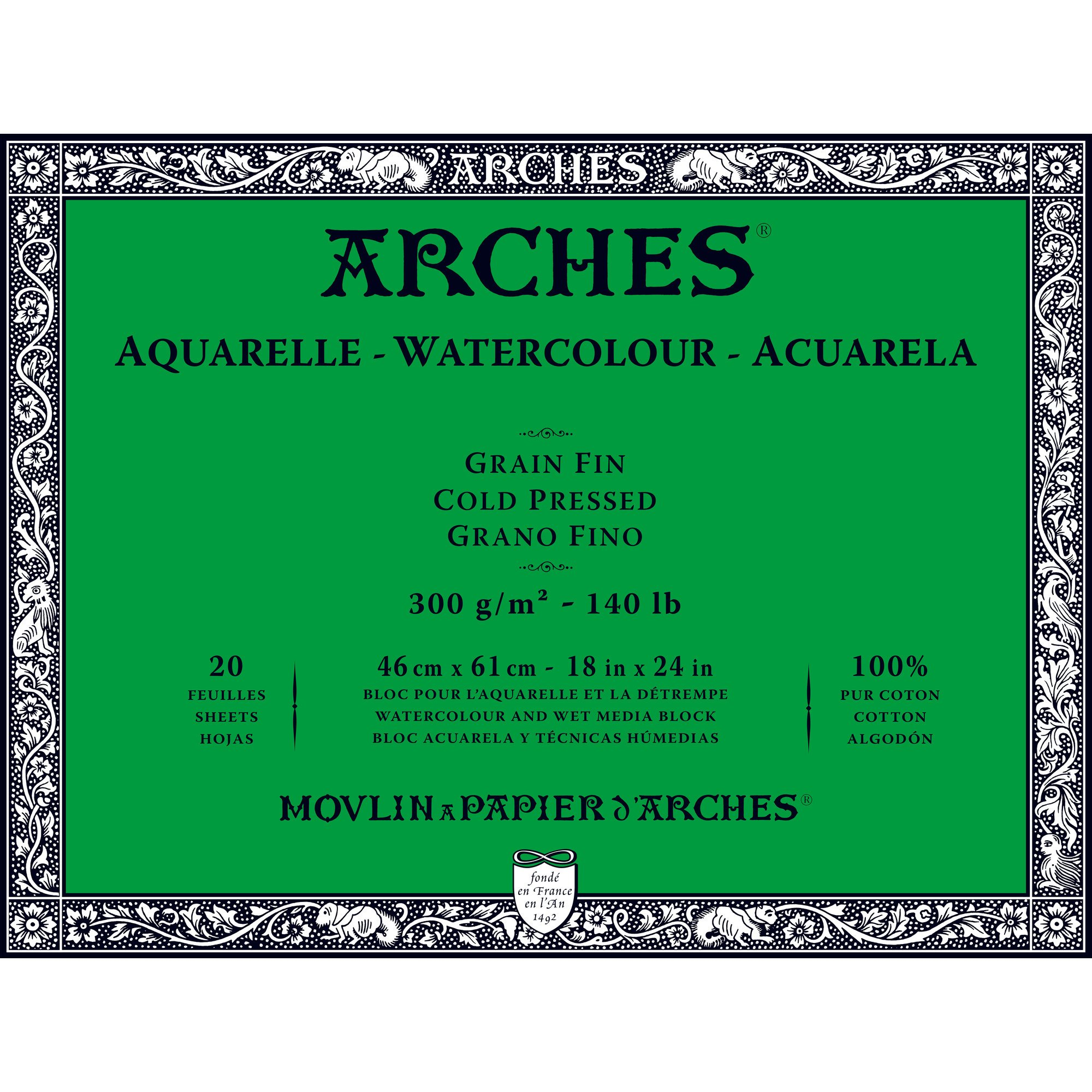 Arches Watercolor Paper Block, Cold Press, 18'' x 24'', 140 pound by Arches