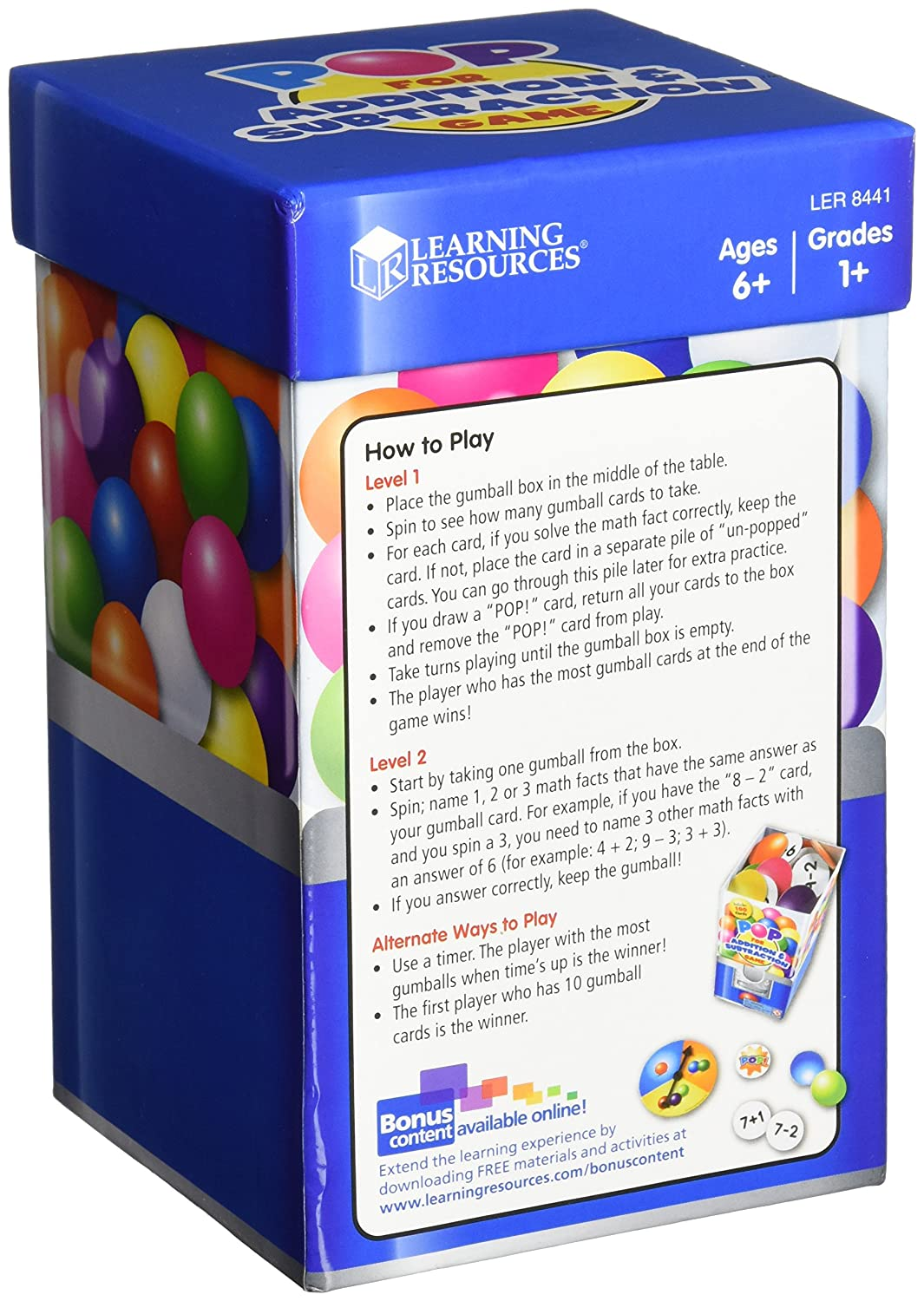 Amazon.com: Learning Resources Pop For Addition & Subtraction Game ...