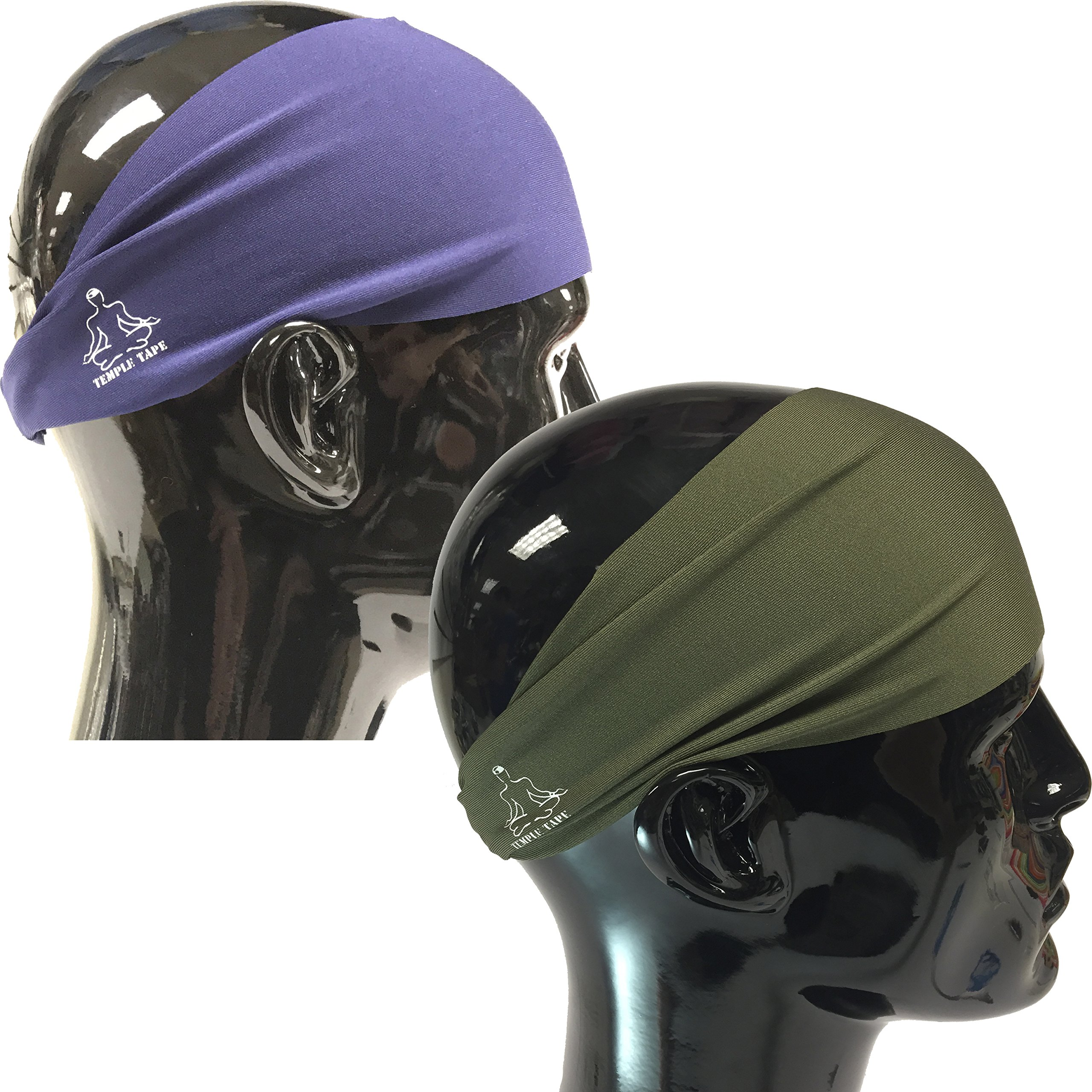 Value 2-Pack, Mens Headband - Guys Sweatband & Sports Headbands Moisture Wicking Workout Sweatbands for Running, Cross-Train, Skiing and bike helmet friendly - Value Pack 1-OD Green & 1-Navy Sweatband by Temple Tape