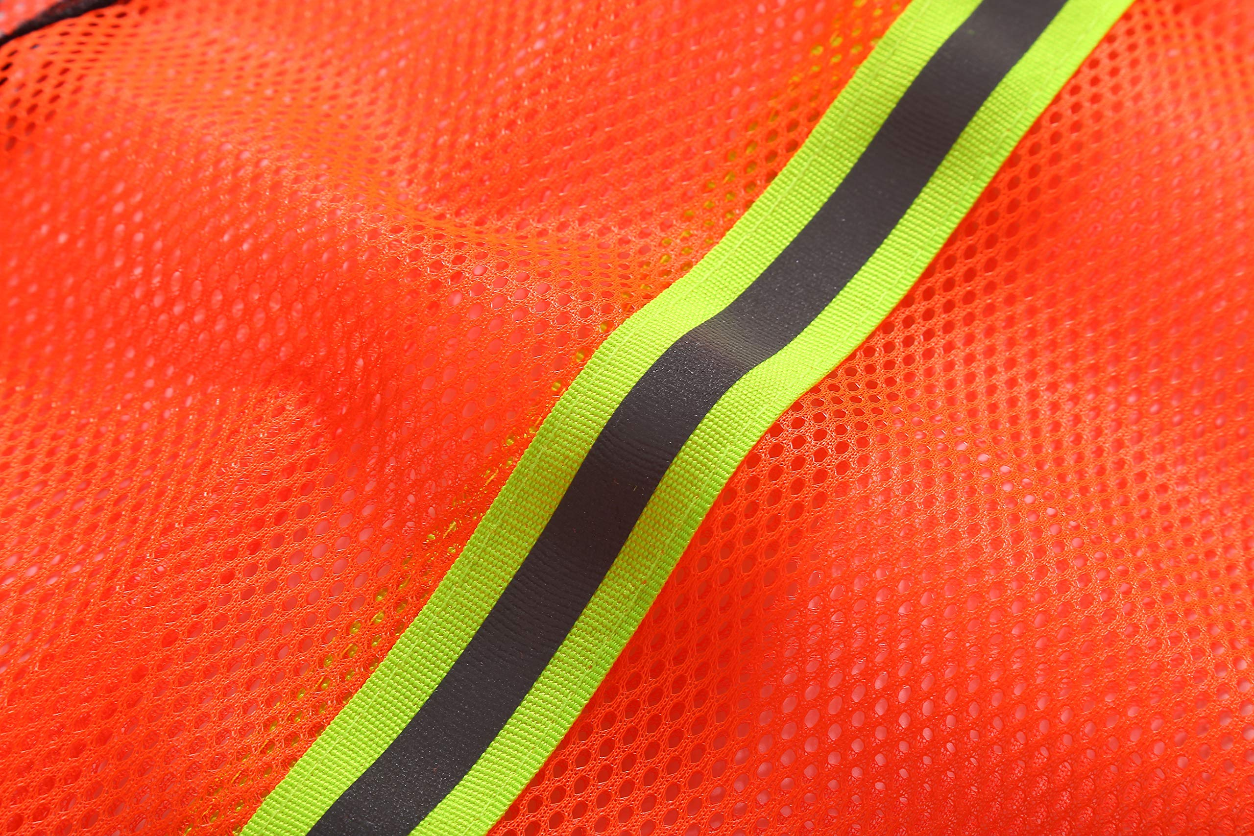 SIFE High Visibility Reflective Safety Vest with 1 Inch Reflective Strips,Made from Breathable and Neon Orange Mesh Fabric,Universal Size,10 pack by SIFE (Image #4)