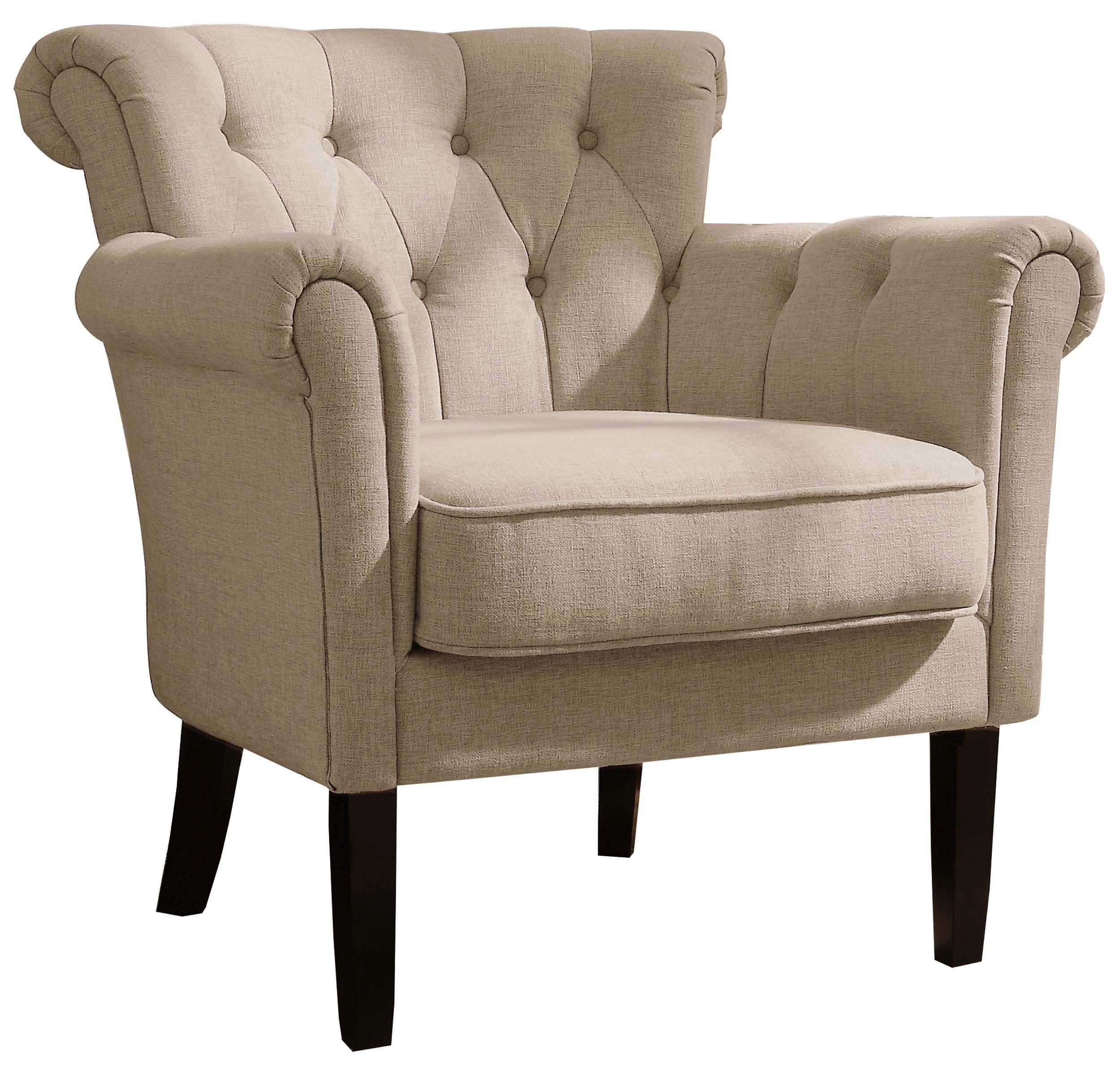 Homelegance Barlowe Fabric Flared Accent Chair, Khaki/Brown - Contemporary Arm Chair features panel roll-arm and decorative tufted back Fabric:  80% polyester + 20% cotton No sag seat construction and fire-retardant foam padded seat cushion for long lasting comfort - living-room-furniture, living-room, accent-chairs - 91BLSgzGc3L -