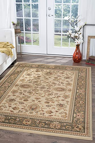 Tayse Gabrielle Ivory 11×15 Rectangle Area Rug for Living, Bedroom, or Dining Room – Transitional, Border