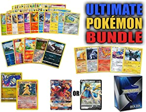Ultimate Pokemon Cards Bundle - 60+ Cards= 50 Cards Plus 5 foil Cards, 5 Rare Cards, 2 Holo Rare Cards (100 HP or Higher), 1 GX or 1 V Card (200 HP or Higher) Comes with a Free Pro Support Deck Box