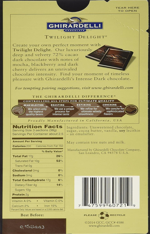 Amazon.com : Ghirardelli Chocolate Intense Dark Chocolate Bar, 72 ...