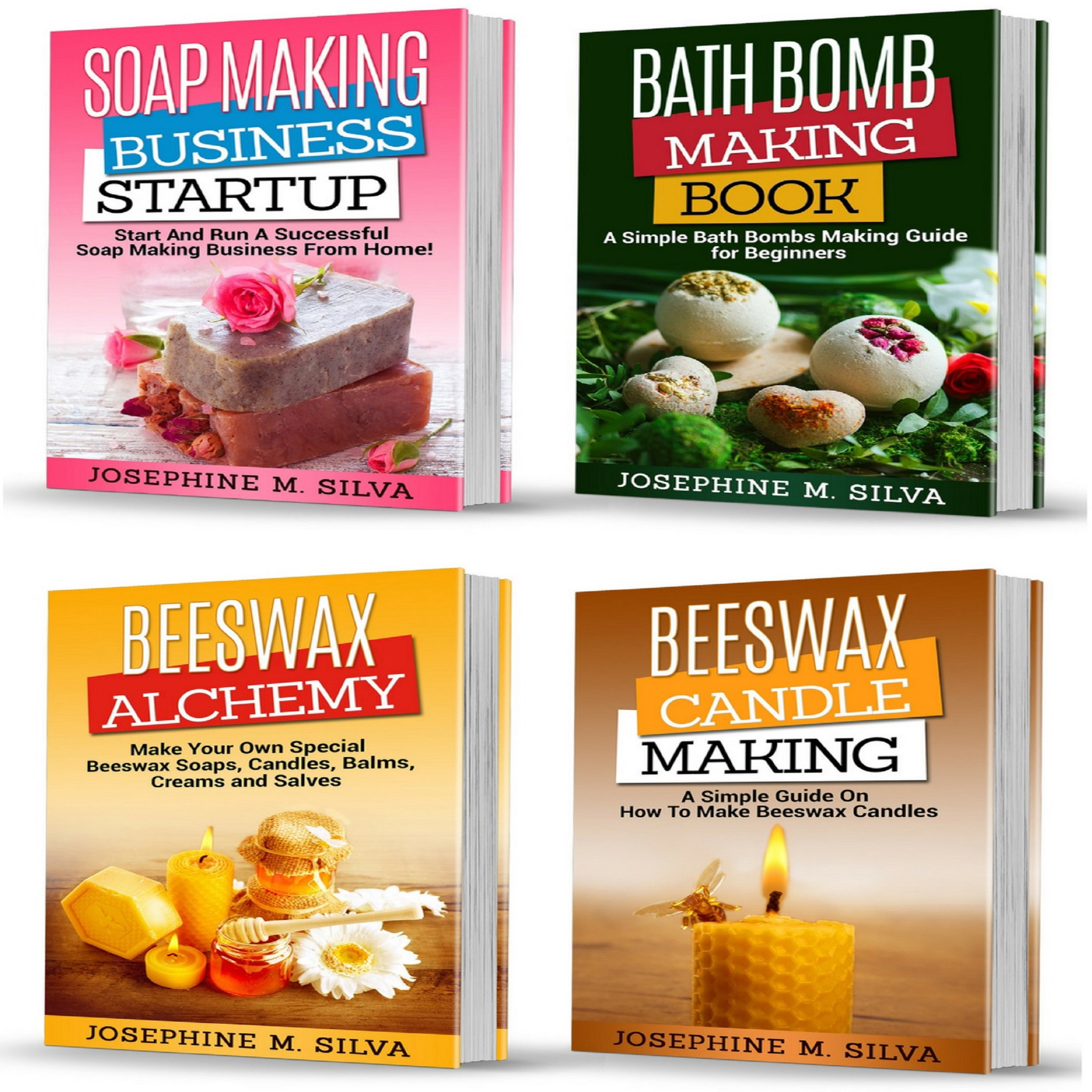 Homemade Projects: 4 Manuscripts: Soap Making Business Startup, Bath Bomb Making Book, Beeswax Alchemy and Beeswax Candle Making