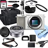 Sony Alpha a6100 (White) Mirrorless Digital Camera with 16-50mm Lens + 32GB Card, Tripod, Case, and More (18pc Bundle)