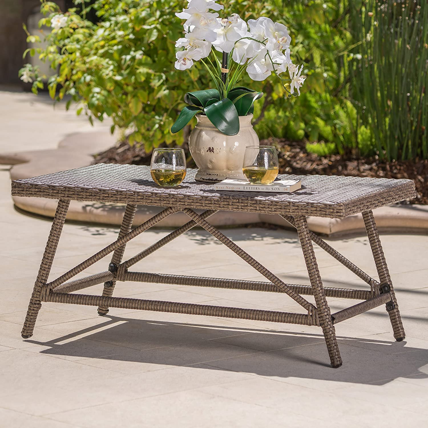 Christopher Knight Home 301836 Hazel Outdoor Light Brown Wicker Coffee Table