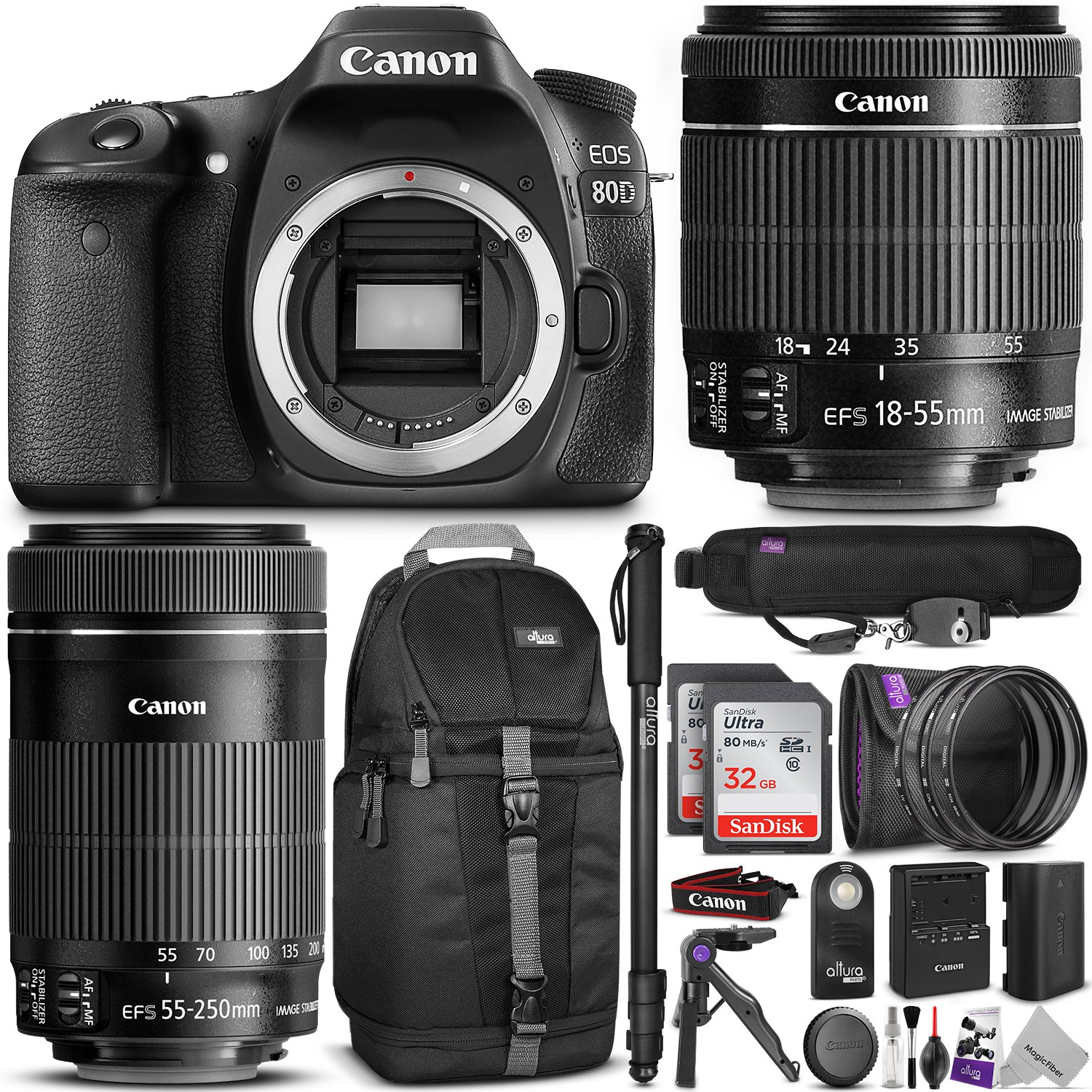 Canon EOS 80D DSLR Camera with EF-S 18-55mm f/3.5-5.6 IS STM and EF-S 55-250mm f/4-5.6 IS STM Lens w/ Advanced Photo and Travel Bundle by Canon
