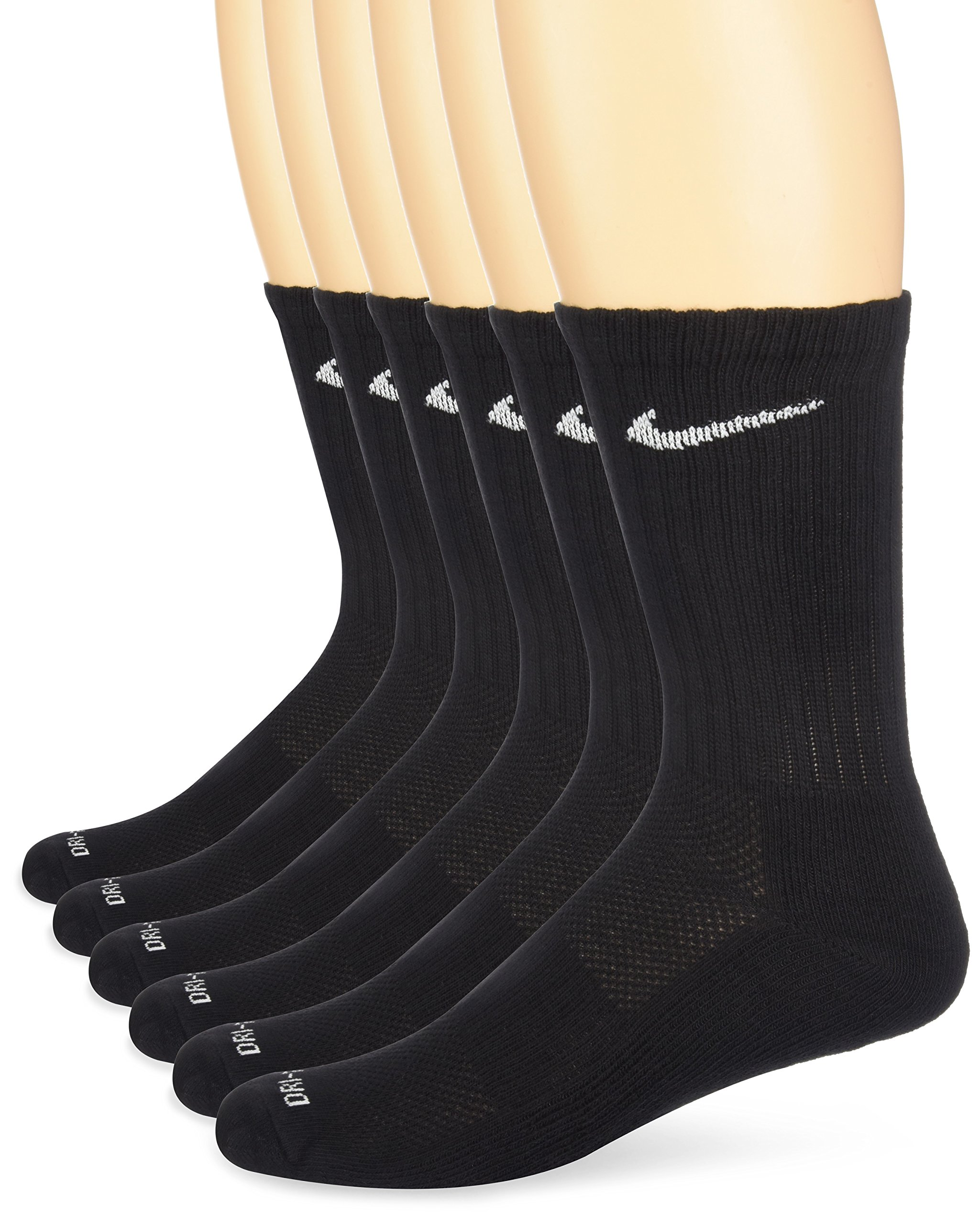 NIKE Unisex Dry Cushion Crew Training Socks (6 Pairs), Black/White, Medium by Nike