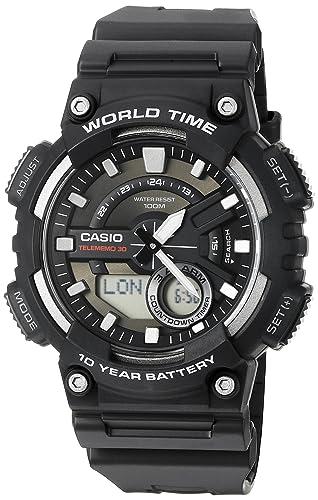 Para Digital Hombres W Casio Aeq110 Analógico Reloj De 1av CuarzoNegro Y WHED9I2