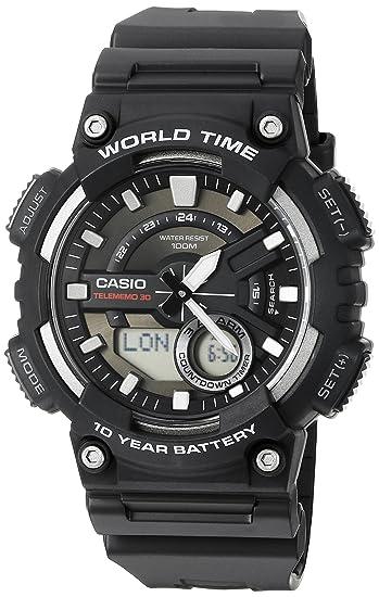 Casio Mens Sports Quartz Watch with Resin Strap, Black, 28.6 (Model: AEQ110W-1AV)