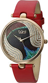 Burgi Womens BUR131 Swarovski Crystal Accented Peacock Feather Dial with Satin Over Leather Strap Watch