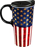 "Cypress Home Metallic Liberty 17 oz Boxed Ceramic Perfect Travel Coffee Mug or Tea Cup with Lid - 3""W x 5.25""D x 7""H"