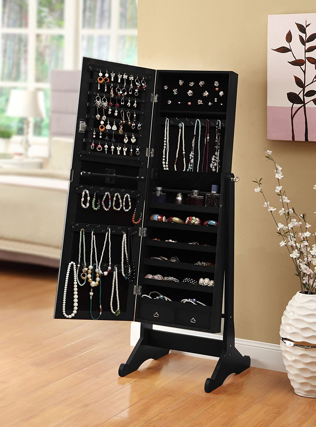 Gentil Amazon.com: Black Mirrored Jewelry Cabinet Amoire W Stand Mirror Rings,  Necklaces, Bracelets: Kitchen U0026 Dining