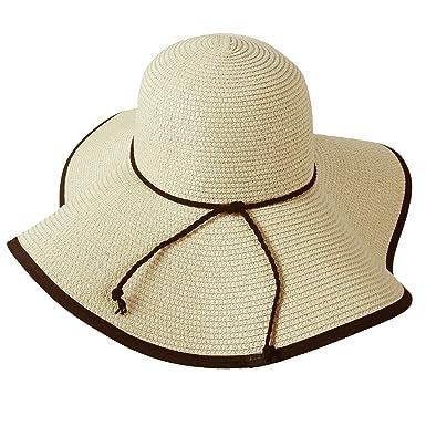 Sidiou Group Ladies Summer Folding Straw Hats Wide Brim Large Fedora Floppy  Beach Sun Hat for 66852025f24e