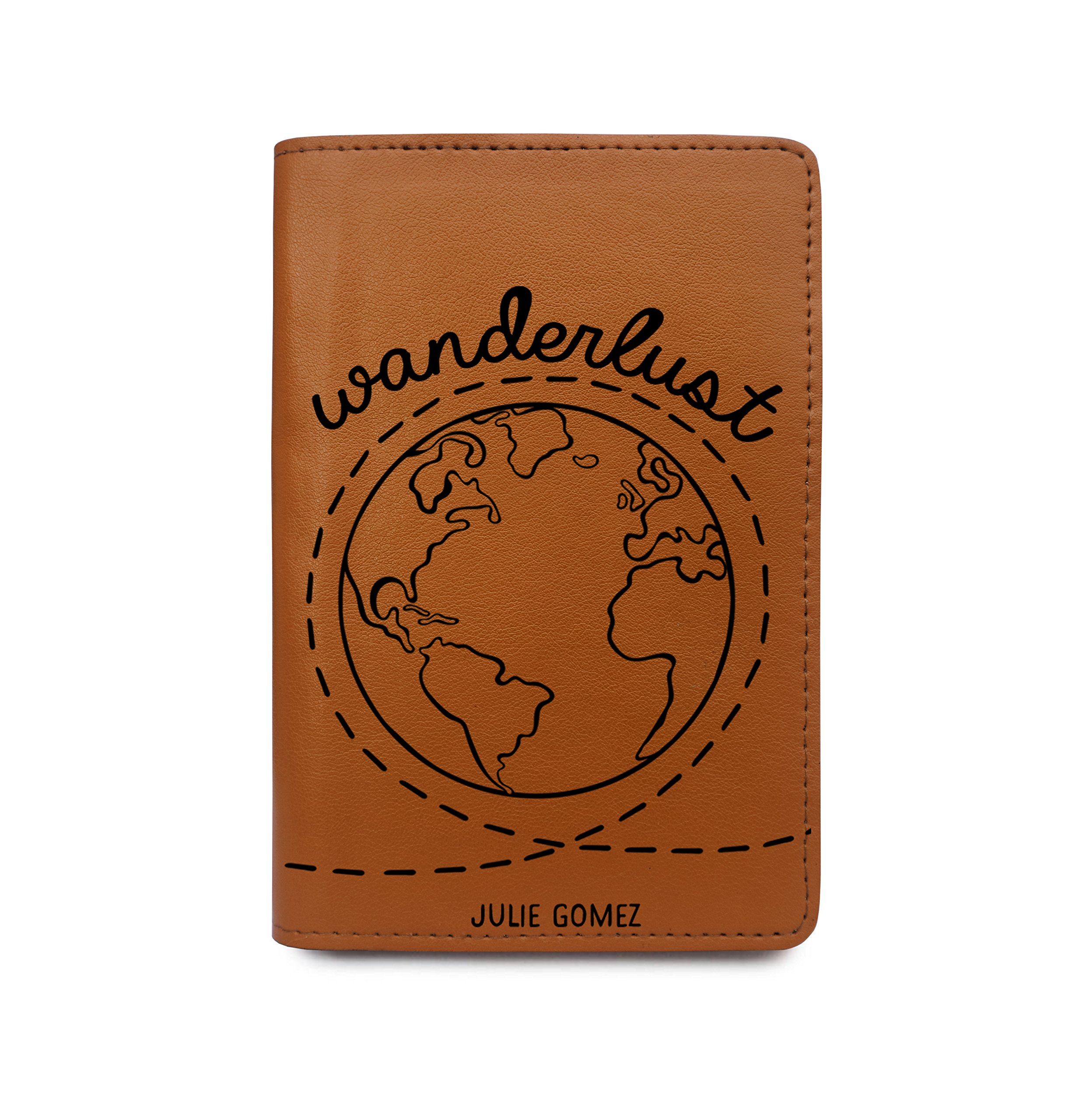 Personalized RFID Blocking Leather Passport Holder Wanderlust World