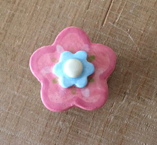 Pink And Blue Flower Knob, Handle, Drawer Pulls