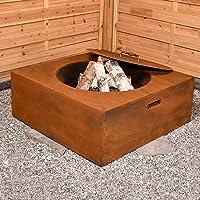 Feuerschale bronze Corten XL Fire Bowl ✔ eckig ✔ rostig (Edelrost)