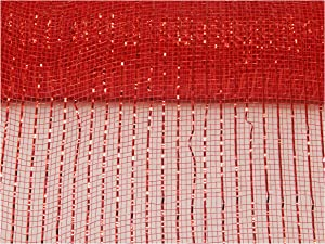 Floral Supply Online - 10 inch x 30 feet Metallic Deco Poly Mesh Ribbon. The Exclusive Metallic Mesh with A Unique Touch of Color and Sparkle. (Red)