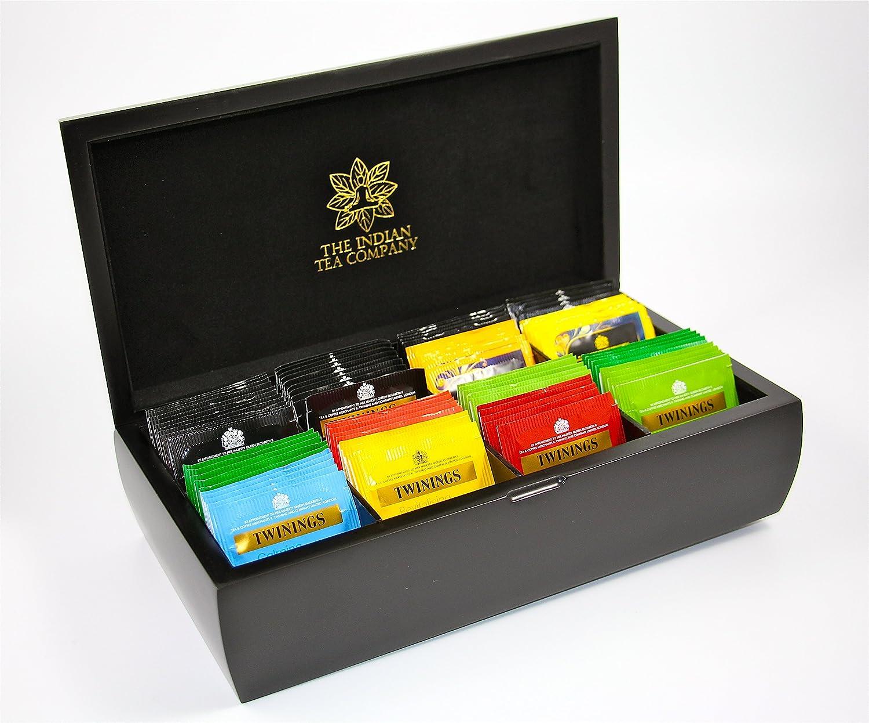 Cofre organizador para té de madera acabado en negro de Indianteacompany; lujoso, con terciopelo negro, 8 compartimentos con 80 bolsitas de té Twinings, caja.: Amazon.es: Hogar