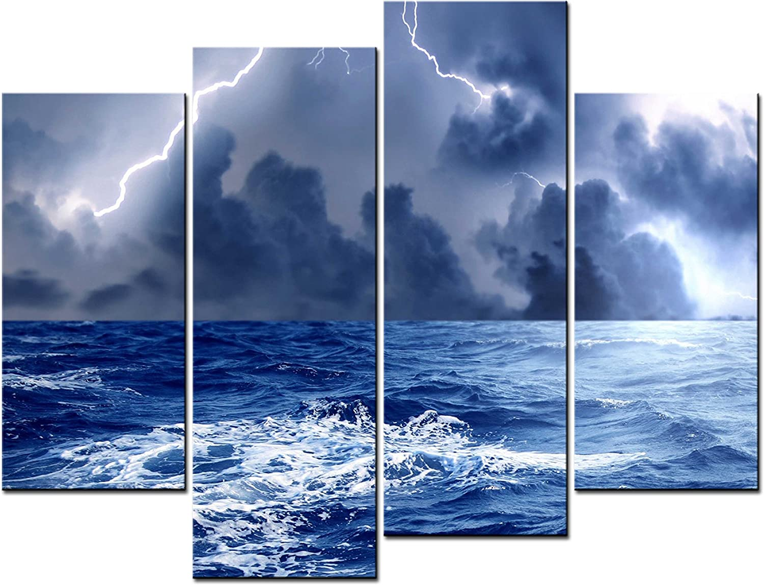 Amazon Com Smartwallart Ocean Landscape Paintings Wall Art The Lightning On The Sea In The Storm 4 Panel Picture Print On Canvas For Modern Home Decoration Posters Prints