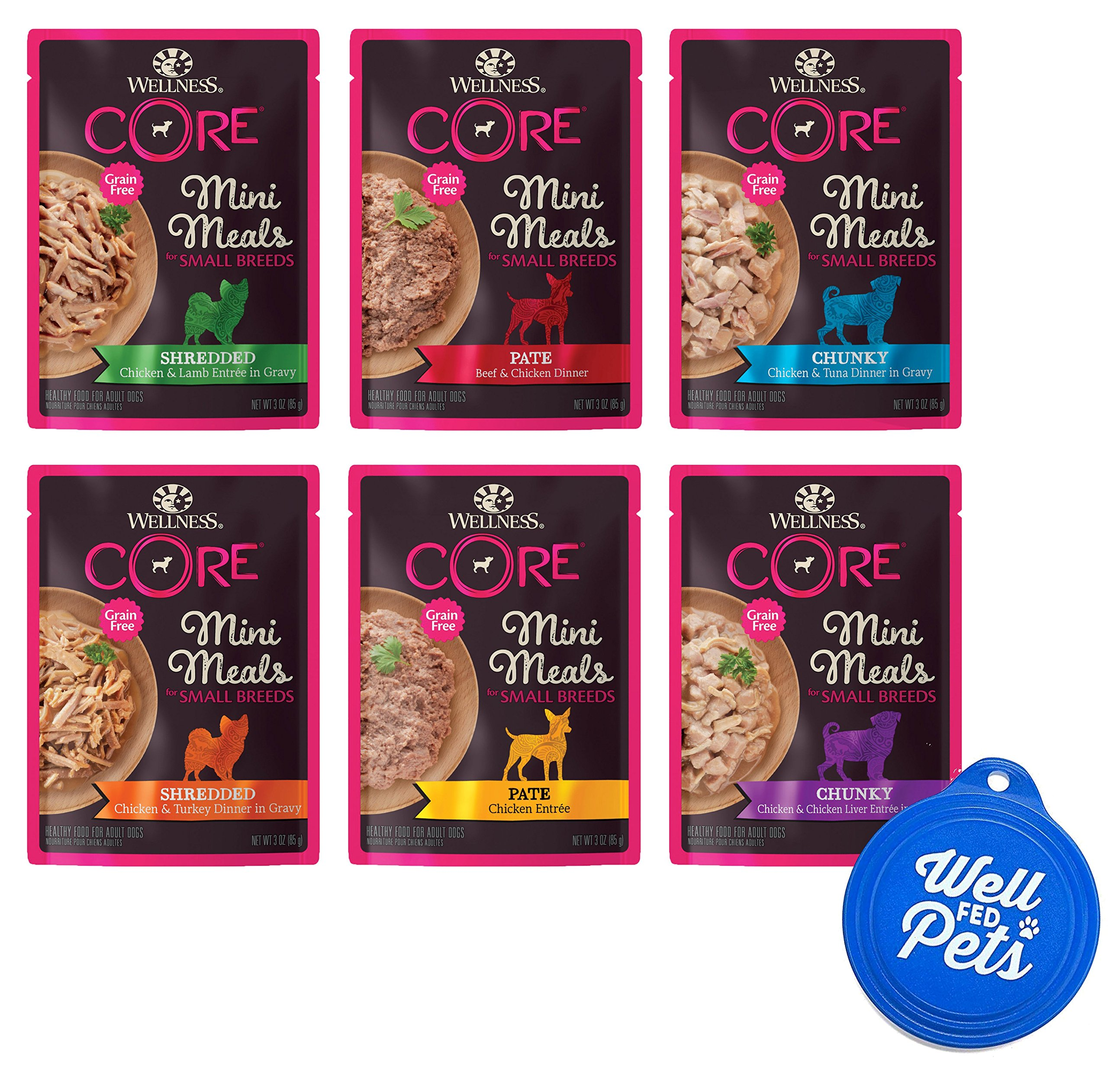 Well Fed Pets Wellness CORE Mini Meals for Small Breeds Natural Grain Free Wet Dog Food Pouches Variety Pack, 6 Flavors, 3-Ounces Each (12 Total Pouches) and 1 Pet Food Lid