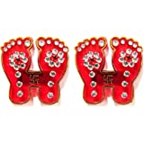Hand Crafted Red Laxmi Charan with Swastik Stone Studded Acrylic Sticker for Floor or Wall Decoration - 1 Pair