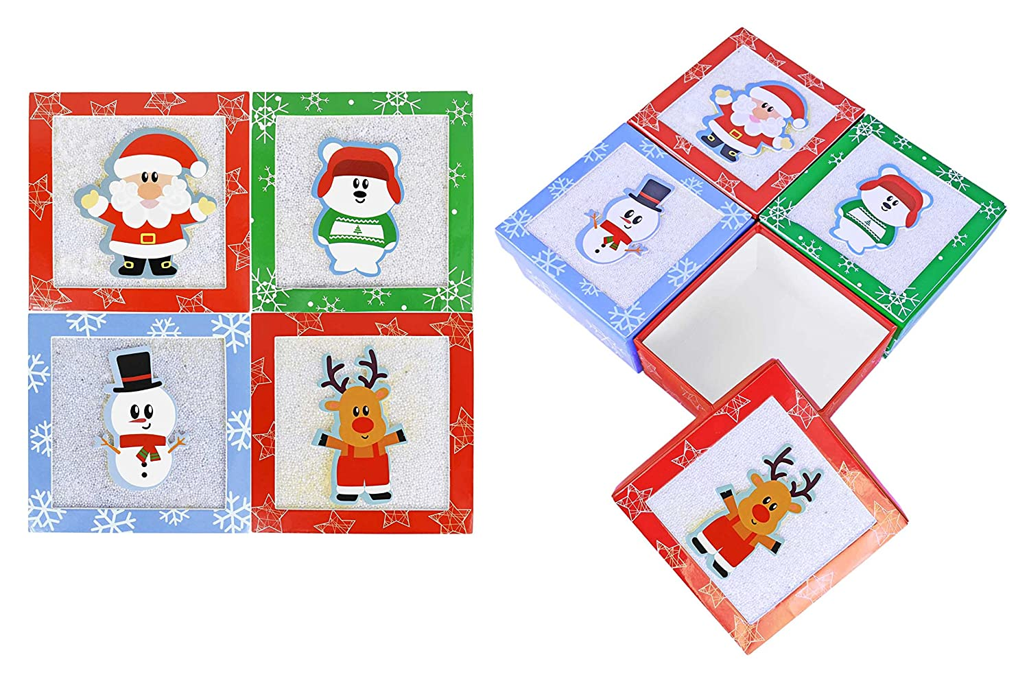 Set of 8 Christmas/Holiday Money/Gift Card Holder Gift Boxes 4.5' x 2.5' With Pop-up Christmas Characters and Sugaring Texture! Black Duck Brand