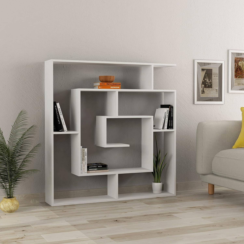 Ada Home D cor DCRB2001 Briscoe Bookcase, 49 x 51 x 8.5 , White