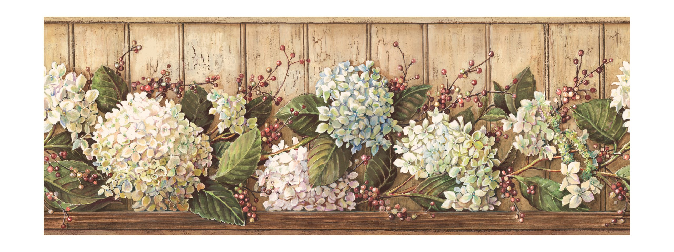 York Wallcoverings Best Of Country HK4643BD Hydrangea Border, Khaki