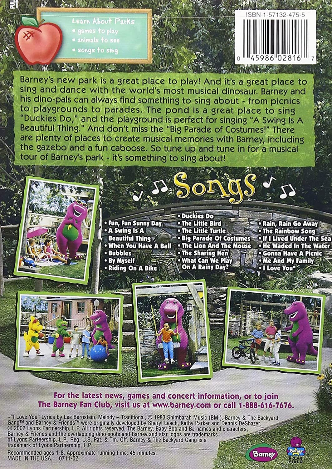 amazon com barney songs from the park bob west julie johnson