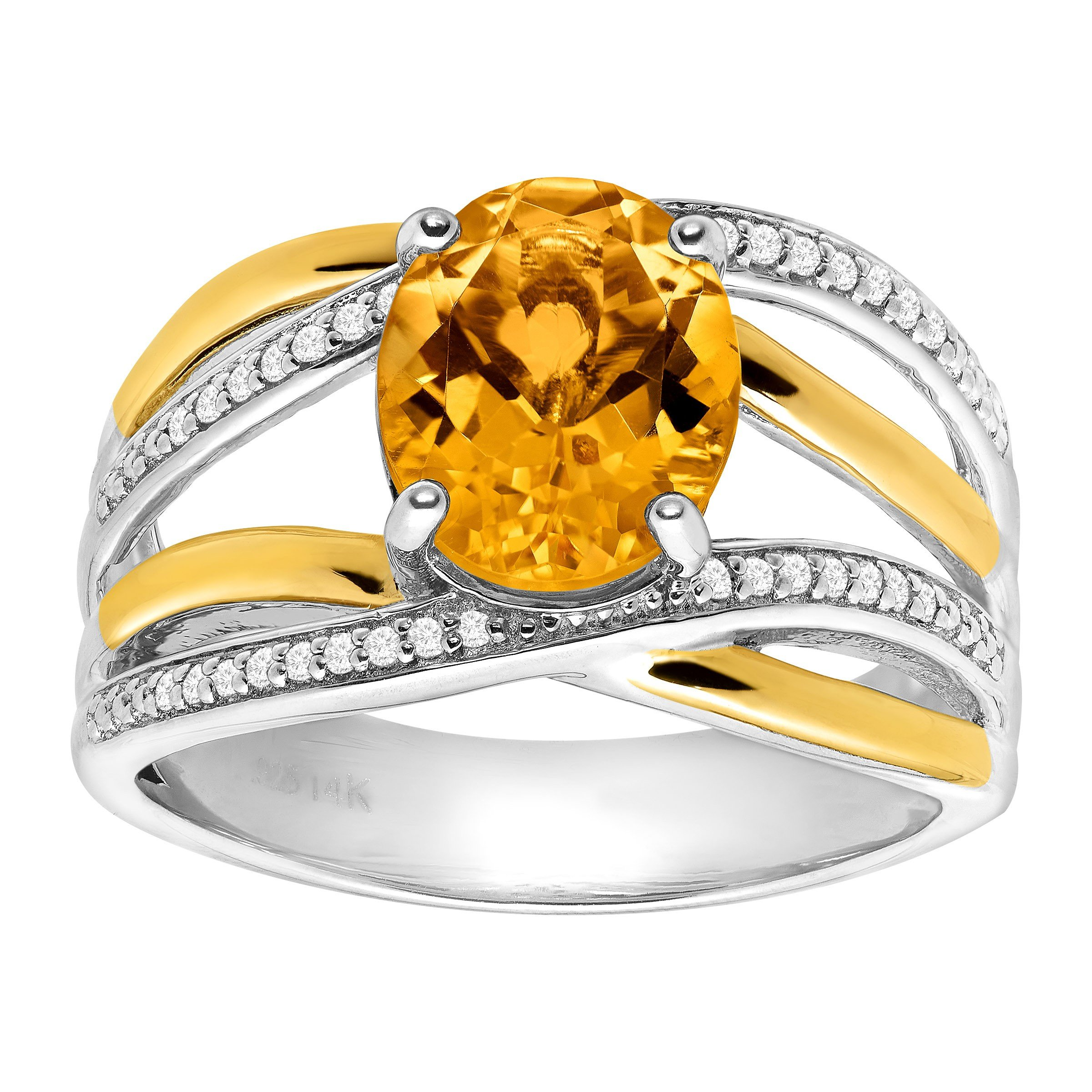 2 1/5 ct Natural Citrine & 1/8 ct Diamond Ring in Sterling Silver & 14K Gold Size 7