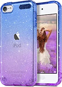 ULAK Clear Gradient Glitter Case for iPod Touch 7th/6th/5th Generation, Hybrid Slim Cute Case for Girls Women, Shockproof Anti-Scratch Soft TPU Bumper Cover for iPod Touch 7/6/5, Blue+Purple