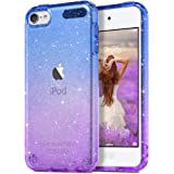 ULAK Clear Gradient Glitter Case for iPod Touch 7th/6th/5th Generation, Hybrid Slim Cute Case for Girls Women, Shockproof Ant