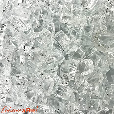 """Amazon com: 1/2"""" Crushed Tempered Fire Glass (15, Ice-Burg"""