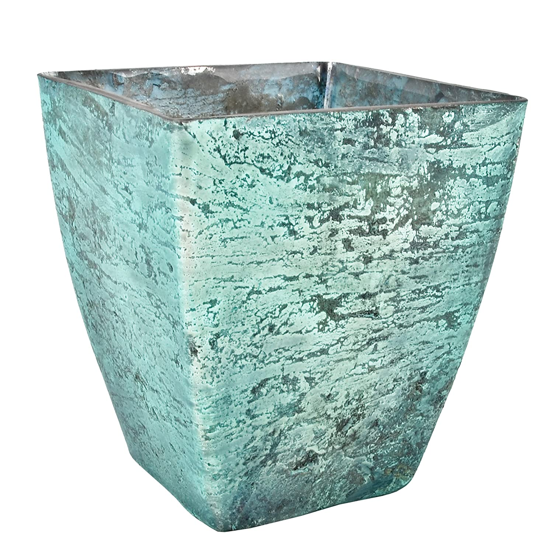 Jarrón Squared de blushed Diseño Cristal Flores - Jarrón decorativo, vidrio, azul turquesa, 13x12x12cm: Amazon.es: Hogar